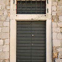 aged medieval door green 11