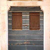 aged medieval door green 3