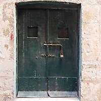 aged medieval door green 7