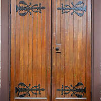decorated wood double door