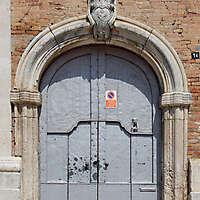 medieval portal grey paint door