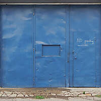 blue garage door