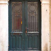 aged medieval door green 2