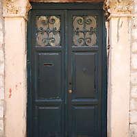 aged medieval door green 4