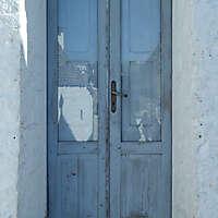 old door corrugated paint