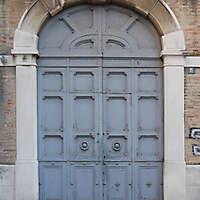 rusty old door grey paint