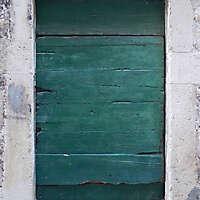 ruined paint old door green