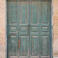 aged medieval door green 20