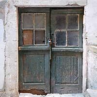 aged medieval door green 9