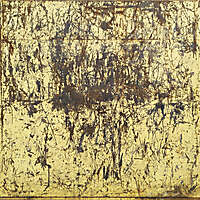 scratched rusty yellow paint panel