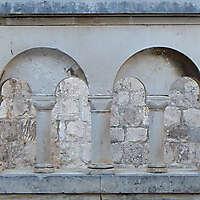 greek little columns white stone
