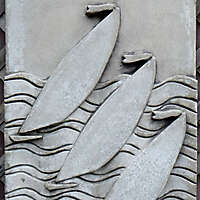 boat artwork on stone