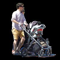 urban people couple with buggy