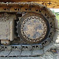 rusty excavator track wheel 2