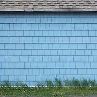blue paint shingles with grass
