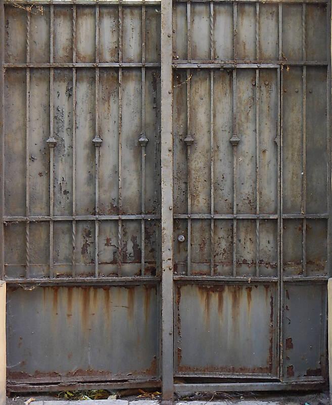 Texture Metal Rusty Cage Grey Paint 4 Metal Doors