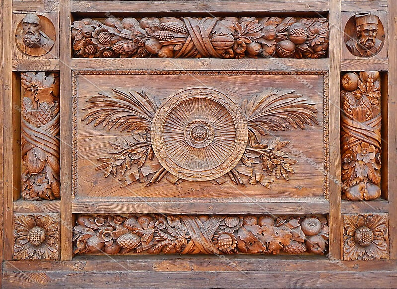 Texture Statue And Flowers Wood Door Ornaments 2 Wood