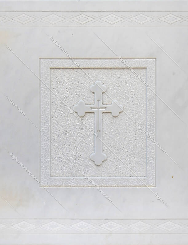 cross on white stone ornament 3