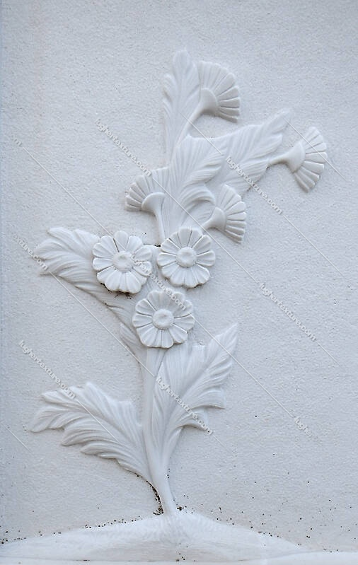 flowers on white stone ornament 12