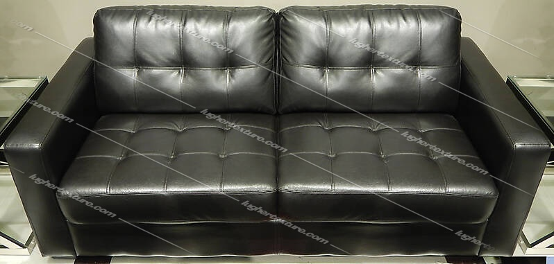Texture Black Leather Couch