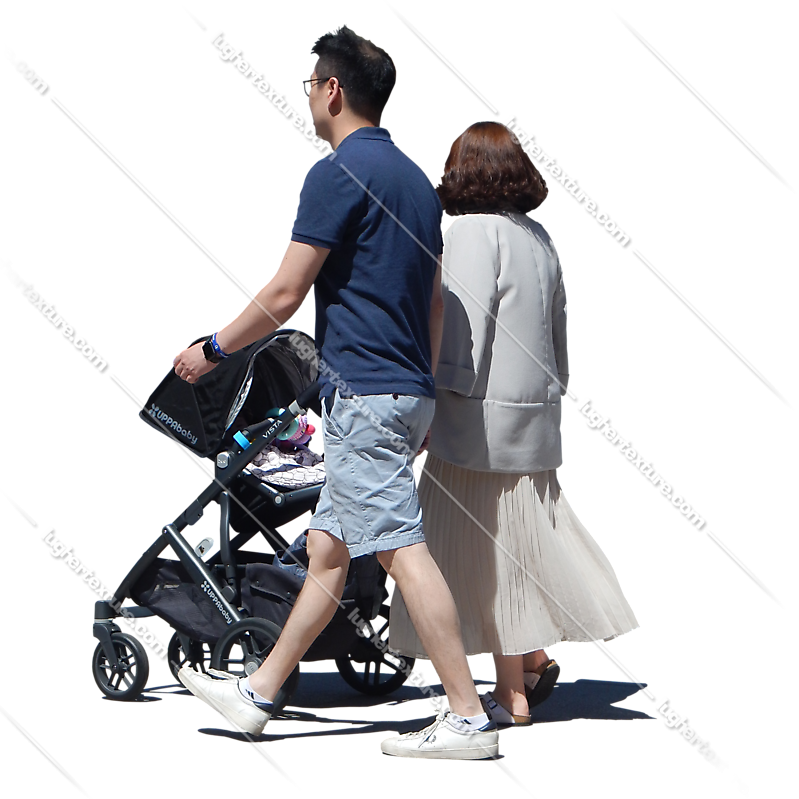 urban people couple with buggy 2