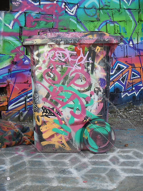 garbage bin graffiti tags